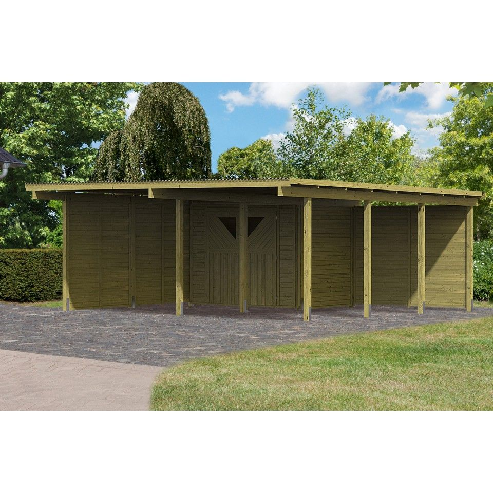 carport bois avec debarras 1 ferme abris de jardin. Black Bedroom Furniture Sets. Home Design Ideas