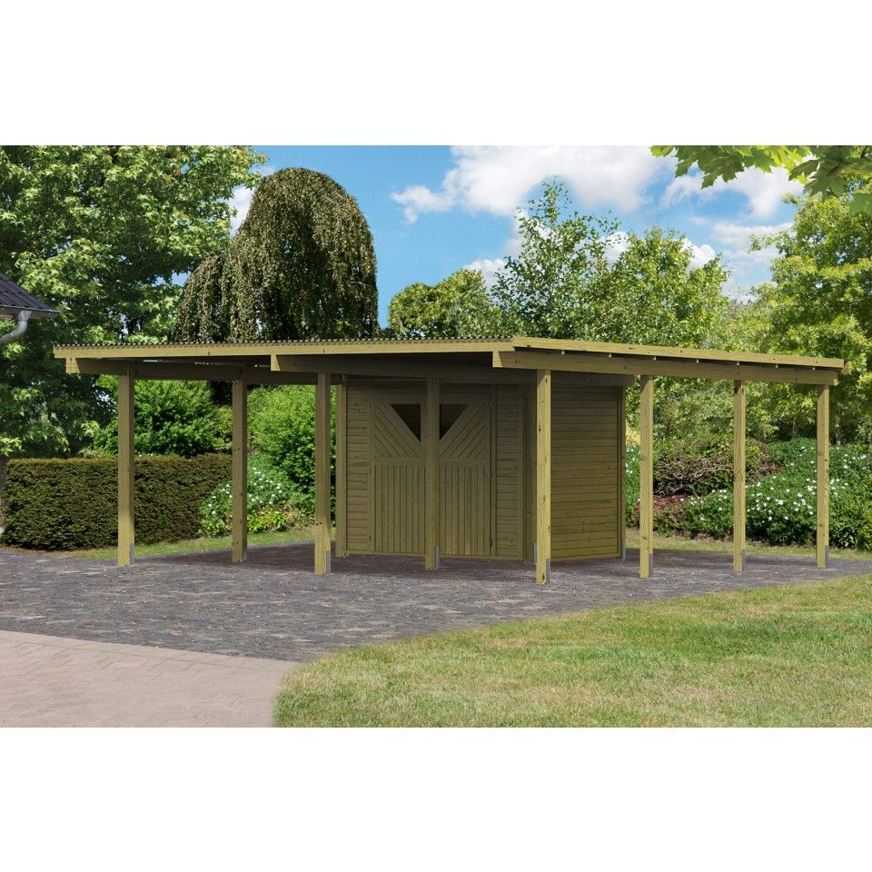 carport bois avec debarras 1 abris de jardin. Black Bedroom Furniture Sets. Home Design Ideas