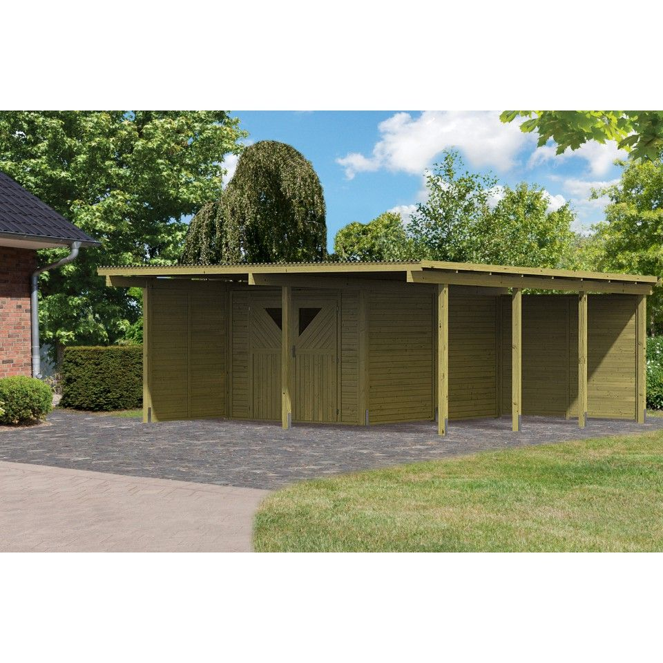 carport bois avec debarras 2 ferme abris de jardin. Black Bedroom Furniture Sets. Home Design Ideas