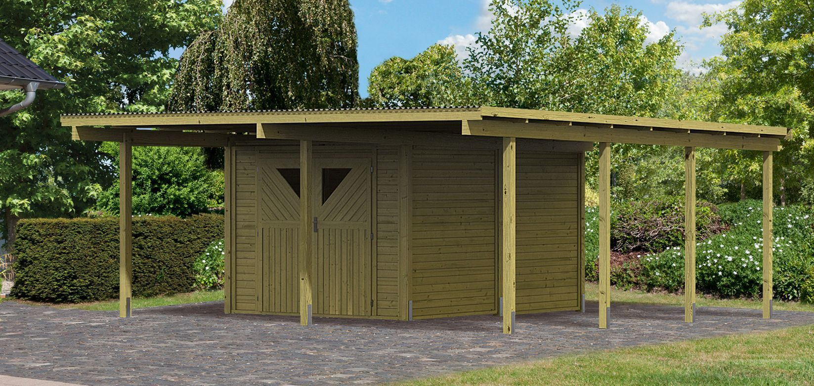 carport bois avec debarras 2 abris de jardin. Black Bedroom Furniture Sets. Home Design Ideas