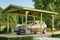 CARPORT BOIS SIMPLE 17 m2 toit double pente / 1 place / 611
