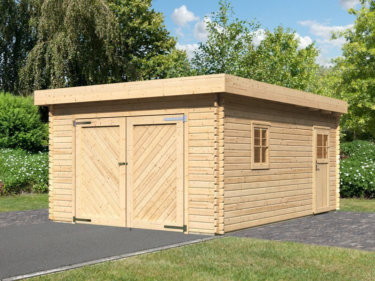 garage en bois massif toit plat 40 mm m2 abris de jardin. Black Bedroom Furniture Sets. Home Design Ideas