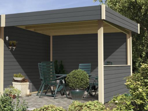 Option appentis multi corner cube gris taupe largeur 1 5 m for Abri de jardin ouvert