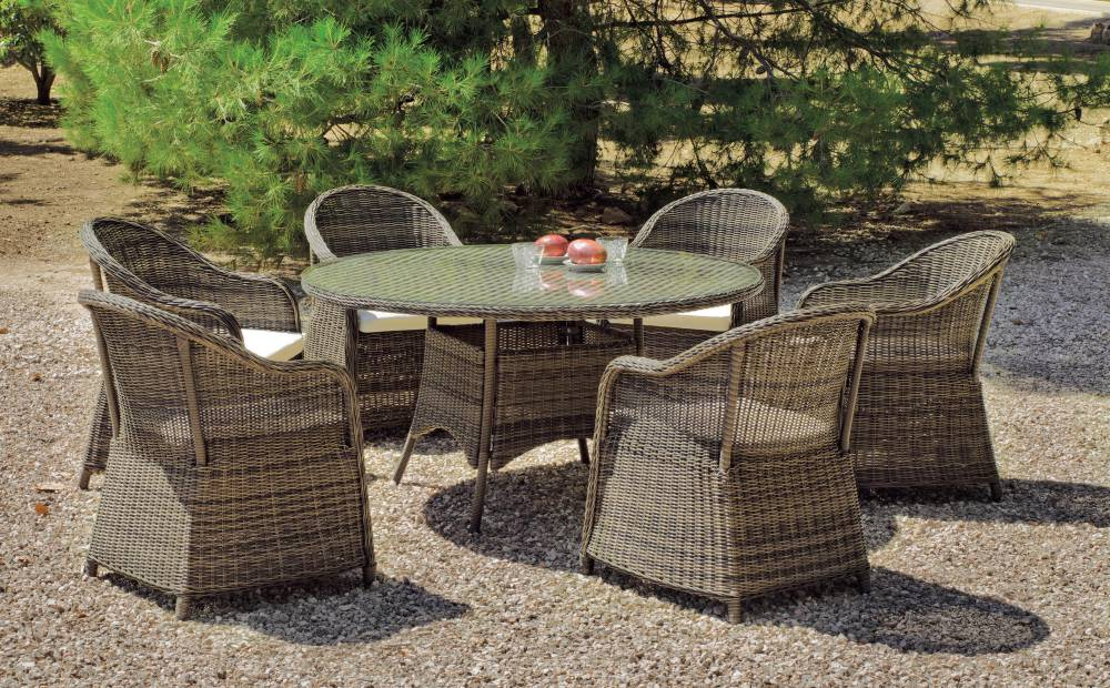 Salon De Jardin Amanda 150 1 Table Ronde 6 Fauteuils Coussinage Salon De Jardin