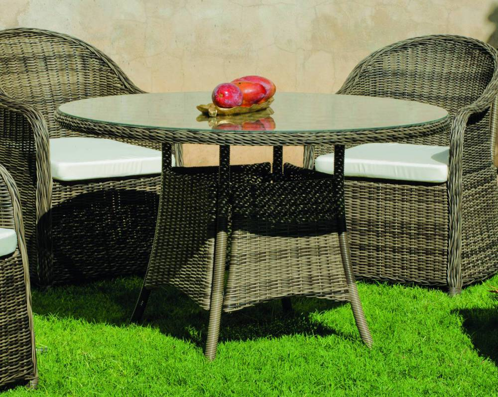 salon de jardin amanda 150 1 table ronde 6 fauteuils coussinage salon de jardin. Black Bedroom Furniture Sets. Home Design Ideas