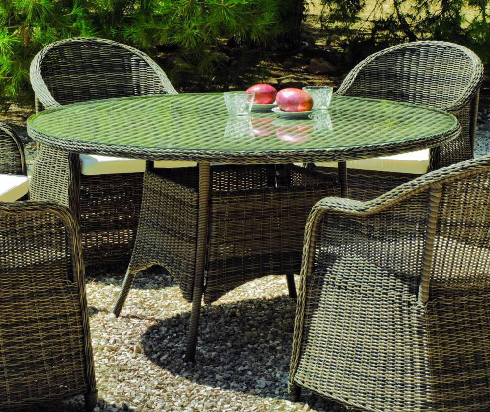 salon de jardin amanda 150 1 table ronde 6 fauteuils. Black Bedroom Furniture Sets. Home Design Ideas