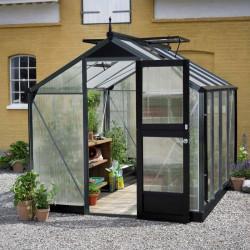Serre de jardin JULIANA compact anthracite 8,2 m² + polycarbonate 10 mm